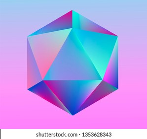 Platonic solid Icosahedron (convex polyhedron) in neon vivid pastel colors. Retrowave/ synthwave/ vaporwave style 3d illustration for poster, logo, t-shirt print. Aestetics of 80s-90s arcade games.