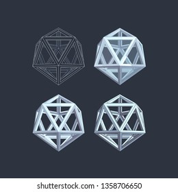 Platonic solid. The icosahedron on the vector clipart. Planar and three-dimensional images on a blue background.