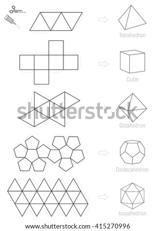 Platonic Solids Coloring Picture Craft Pattern Stock Vector (Royalty ...