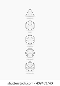 Platonic solids, line design, vector illustration EPS 10