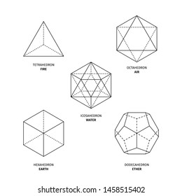 Platonic solids on white background. Editable Original stoke vector (non expanded outline). Philosophy, spirituality, alchemy, religion, symbols and elements.