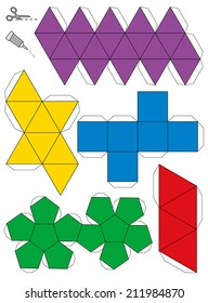 Platonic Solids Paper Model Template