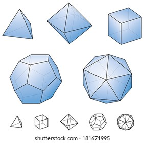 Platonic Solids - regular, convex polyhedrons in Euclidean geometry - tetrahedron, hexahedron, octahedron, dodecahedron and icosahedron. Vector isolated on white using transparencies and gradients.