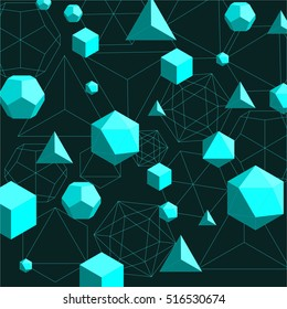 Platonic solids shapes and lines abstract 3d geometrical background. Vector illustration in flat style in cyan color on dark green.