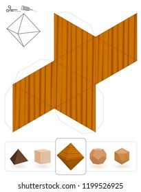 Platonic solids. Template of a octahedron with wooden texture to make a 3d paper model out of the triangle net.