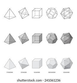 Platonic solids, vector illustration
