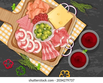 Platter of cold cuts and smoked meat on the table background illustration