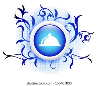 platter icon on blue decorative button