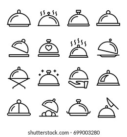 Platter Line Vector Icons Set