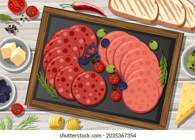 Platter of pepperoni and salami on the wooden table background illustration