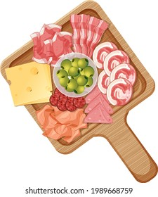 Platter of various cold meats and cheese isolated on white background illustration