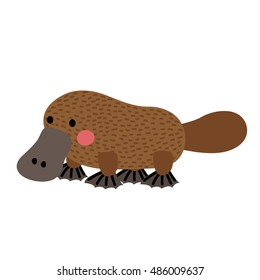 Platypus animal cartoon character isolated on white background.
