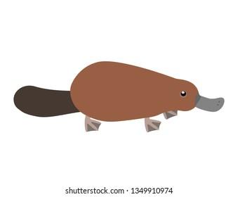 Platypus. duckbill, Isolated vector illustration