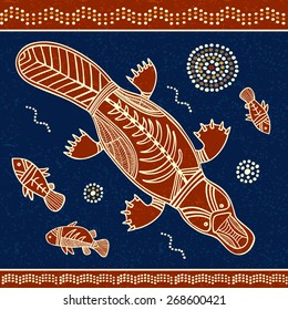 Platypus and fish vector illustration in australian aboriginal style