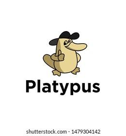 platypus logo vector.playful logo.platypus top