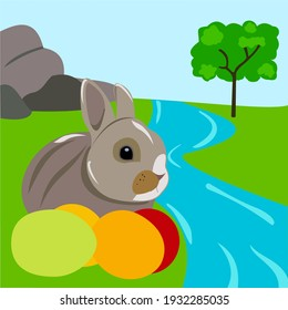 a plausible rabbit on the river with Easter eggs on a background of rocks and wood