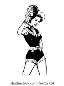 Play Around The Clock - Las Vegas Gal - Retro Clip Art