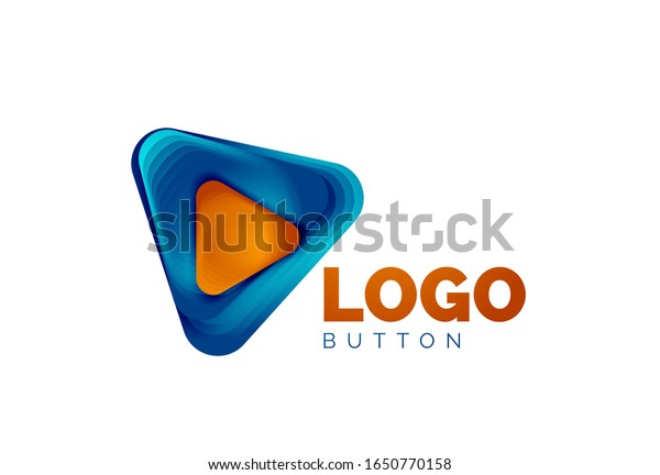 Play, arrow or download button icon, minimal design business logo template. 3d geometric bold in relief style with color blend steps effect. Vector Illustration For Wallpaper, Banner, Background, Card