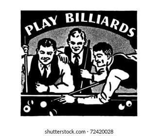 Play Billiards - Retro Ad Art Banner