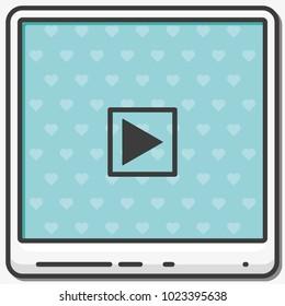 Play button flat vector icon.