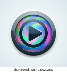 Play Button Holographic Style illustration