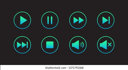 Play button icon. Media player control icon set. Modern design. Vector illustration.