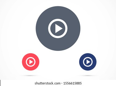 Play button icon vector in trendy flat style isolated on grey background.