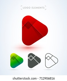 Play button icons. Logo collection for music and video player. Material design