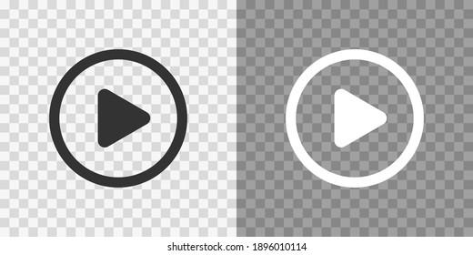 Play button icons on transparent backdrop. Digita webl vector illustration