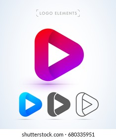 Play button logo in material design style. Application icon