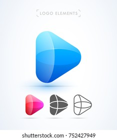 Play button logo template. Vector abstract shapes. Material design, flat and line-art style