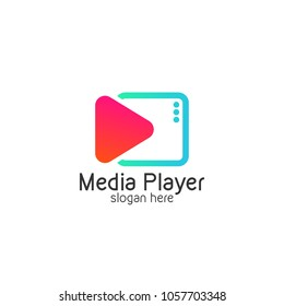 Play button Media Player Logo Vector Illustration Video Design Templates with White Background