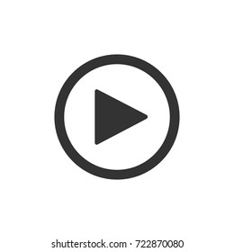 Play button on white background. Isolated sign for web. Icon.