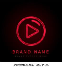 Play button red chromium metallic logo