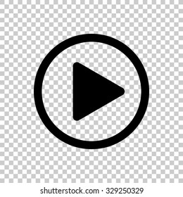 play button vector icon - black illustration