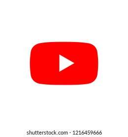 play button youtub, you tube video icon, logo symbol red banner, flat  vector, social media sign, mobile app, web video mark vector