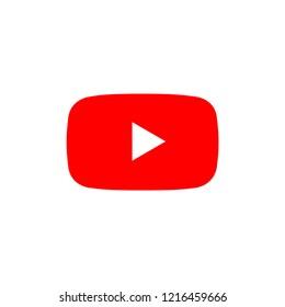 play button youtube, you tube video icon, logo symbol red banner, flat  vector, social media sign, mobile app, web video mark vector