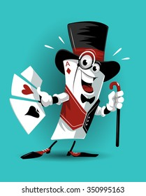 play card character funny friendly in tall hat shoes gloves vest with cane and cards in hands vector