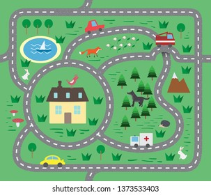 play carpet for children's playroom or Playground. Children playmat with animals and toy cars. Seamless play map illustration