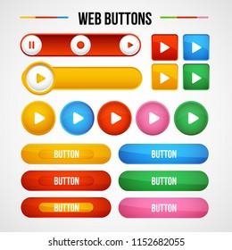 Play colorful web buttons for website or app.