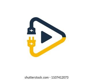 Play Electric Icon Logo Design Element