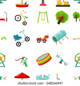 Play garden pattern icons in cartoon style. Big collection of play garden vector illustration symbol.