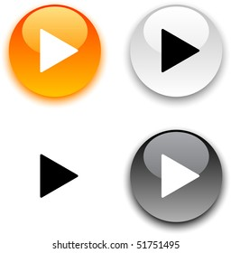 Play glossy round vector buttons.