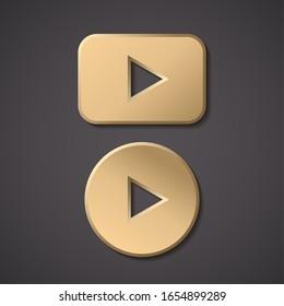 Play gold button vector icon. Round arrow gold play button.