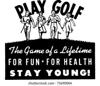 Play Golf 2 - Retro Ad Art Banner