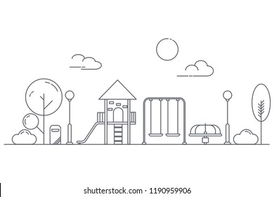 Play ground for children on garden park playground. Landscape of urban park. Thin line art style. Vector illustrators