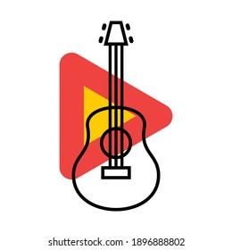 Play the guitar icon. Combination of line art and colorful flat style illustration.