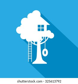 play house on the tree vector icon