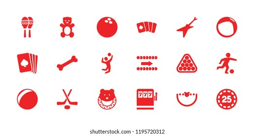 Play icon. collection of 18 play filled icons such as teddy bear, baby toy, playing card, plastic ball, volleyball player, hockey. editable play icons for web and mobile.