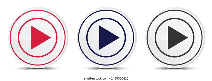 Play icon crystal flat round button set illustration design isolated on white background
